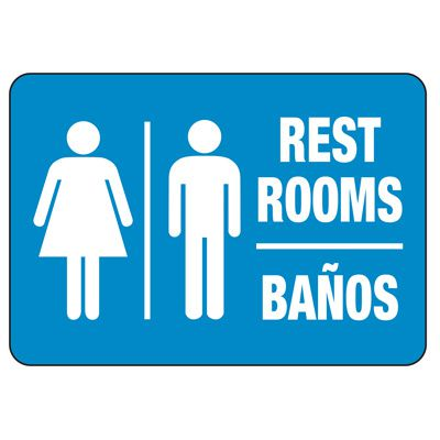 Bilingual Unisex Restroom Sign