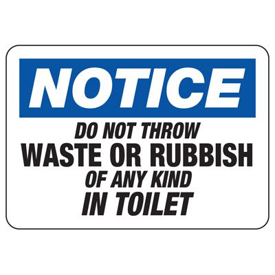 No Rubbish in Toilet Sign