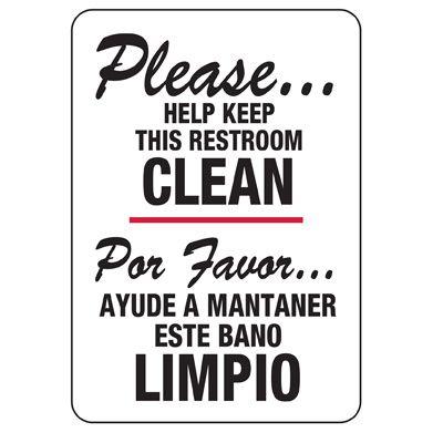 Bilingual Help Keep Restroom Clean Sign