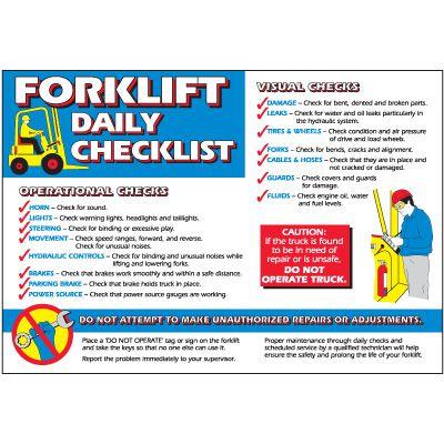 Forklift Daily Checklist Wallchart