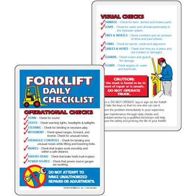 Forklift Daily Checklist Wallet Card