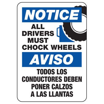 Bilingual Drivers Must Chock Wheels Sign
