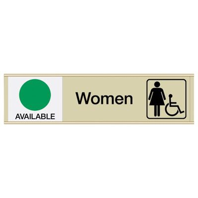 Women W/ Accessibility Available/In Use - Engraved Restroom Sliders