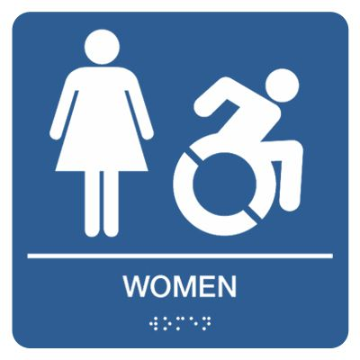 Women w/ Dynamic Accessibility Graphic - Graphic Braille Signs