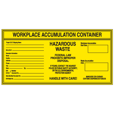Workplace Accumulation Container - Hazwaste Container Labels