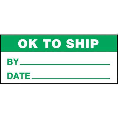 OK To Ship Self-Laminating Status Labels