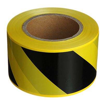 Black and Yellow Striped Barricade Tape