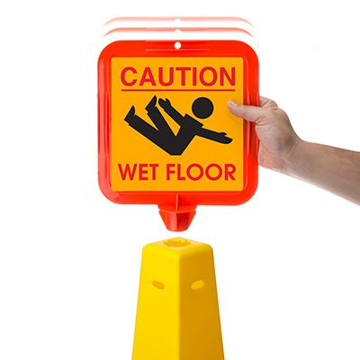 Caution Wet Floor Safety Cone Sign