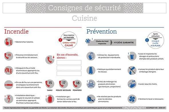 Consignes de sécurité pour cuisine