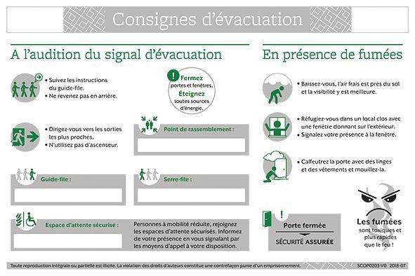 Consignes de sécurité pour évacuation