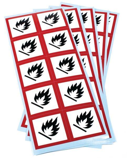 Etiquettes CLP en planche Matières inflammables GHS02