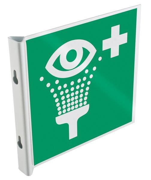 """Panneau drapeau 2D NF EN ISO 7010 """"Rinçage des yeux"""""""