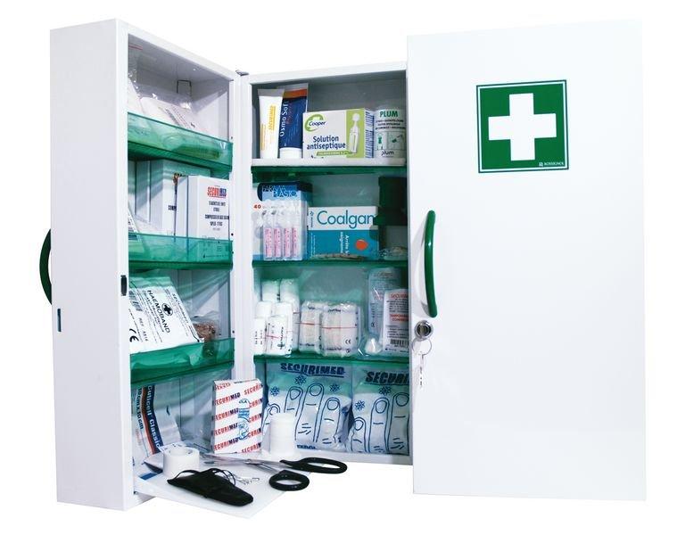 Armoire à pharmacie 2 portes en métal - garnie