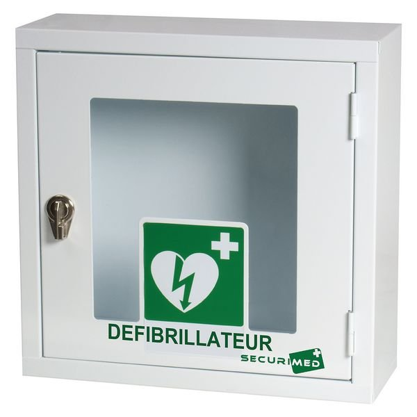Armoire de rangement en métal pour défibrillateur