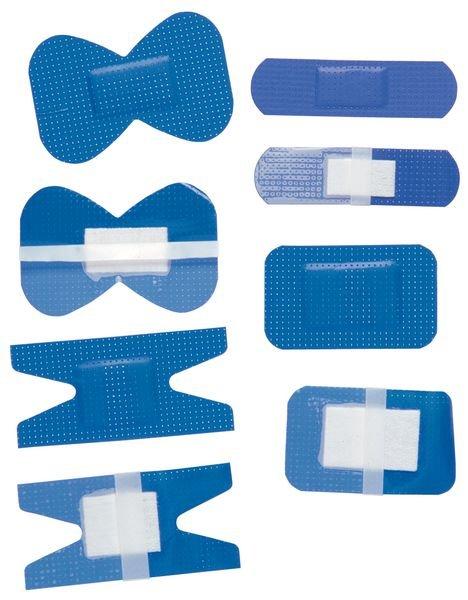 Assortiment de pansements bleus détectables