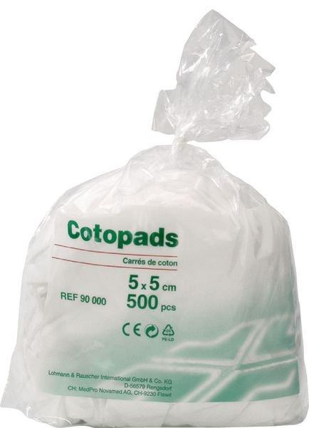 Carrés de coton hydrophile prédécoupés Cotopads