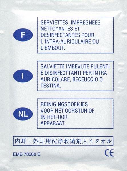 Lingettes désinfectantes pour intra-auriculaires
