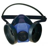 Demi-masque respiratoire bi-filtre en silicone