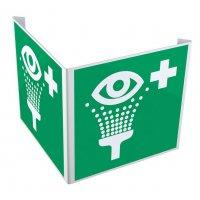 Panneau drapeau ISO 7010 Equipement de rinçage des yeux