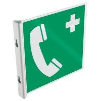 """Panneau drapeau 2D NF EN ISO 7010 """"Téléphone d'urgence"""""""