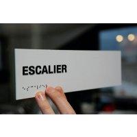 """Signalétique braille PVC avec texte """"Escalier"""""""