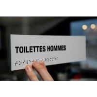 """Signalétique braille PVC avec texte """"Toilettes hommes"""""""