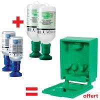 Offre pack 2 flacons lave-œil 500 ml + 2 x 200 ml pH Neutral + coffret mural