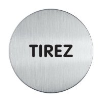 Plaque de porte adhésive en aluminium anodisé brossé Tirez