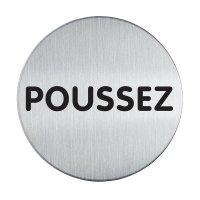 Plaque de porte adhésive en aluminium anodisé brossé Poussez