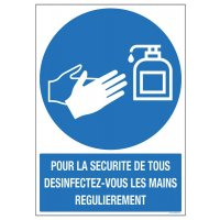 Panneau avec texte désinfection des mains au gel hydroalcoolique