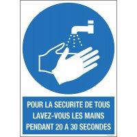 Panneau avec texte lavage des mains obligatoire