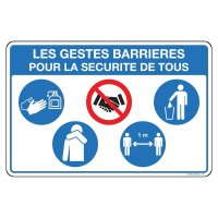 Panneau sur les 5 gestes barrières pour la sécurité de tous