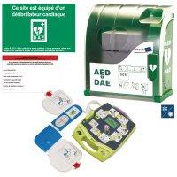 Pack DEA/DSA Zoll AED Plus® + housse et kit de rasage + armoire + panneau DAE + étiquette de maintenance