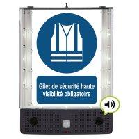 Panneau avertisseur sonore et visuel Gilet de sécurité obligatoire