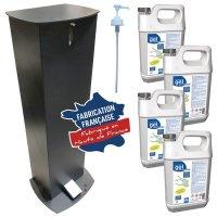 Distributeur de gel hydroalcoolique sur pied à pédale pour bidon 5 L