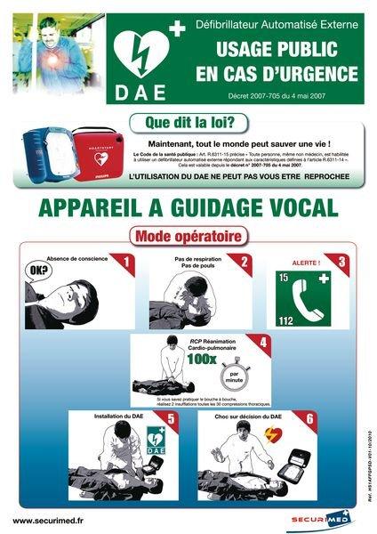 Poster utilisation défibrillateur