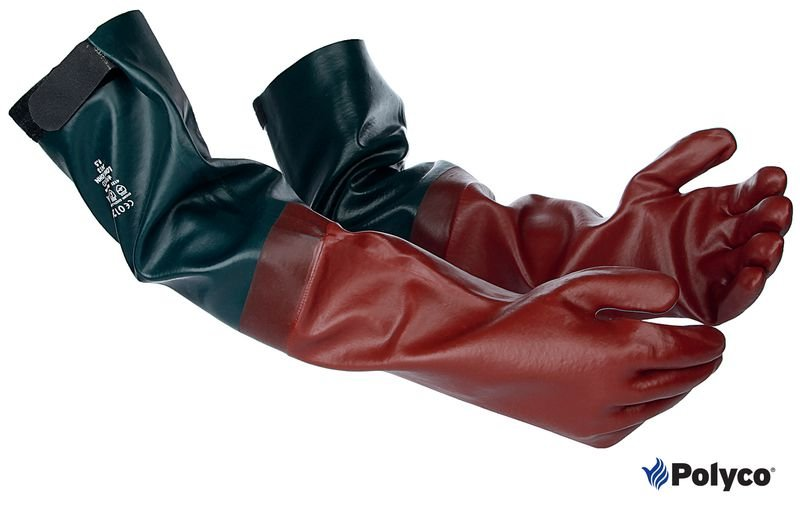 Gants de protection chimique en PVC à manches longues