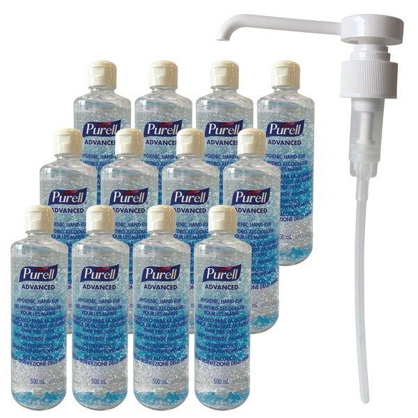Offre pack 12 gels hydroalcooliques Purell avec 1 pompe