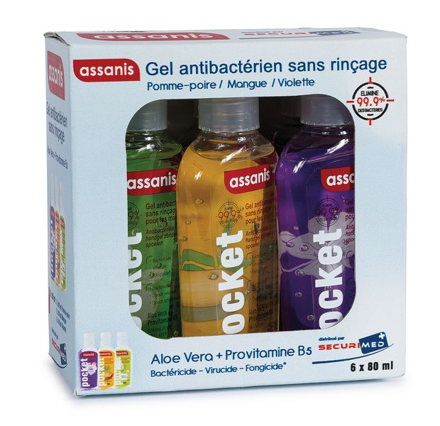 Lot de 6 gels hydroalcooliques parfumés petit format