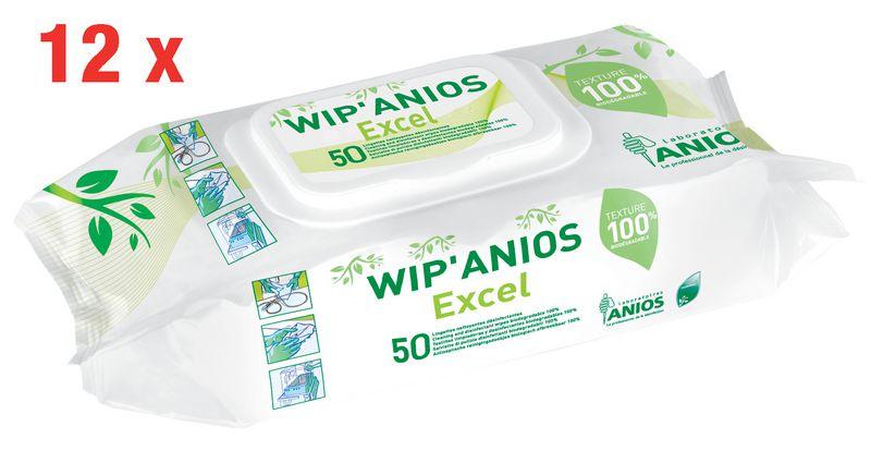 12 paquets 50 lingettes désinfectantes Wip'Anios Excel
