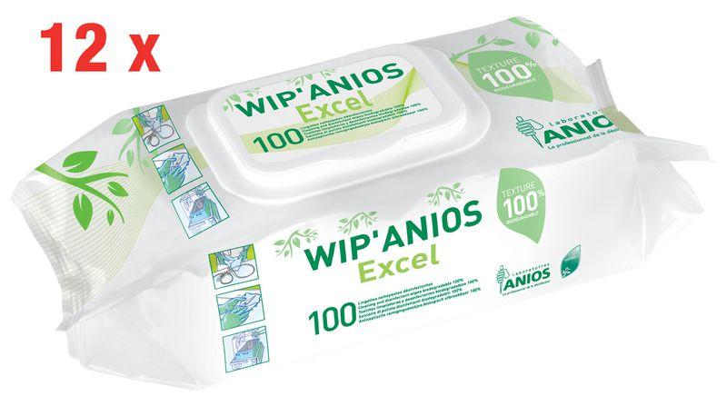 12 paquets 100 lingettes désinfectantes Wip'Anios Excel