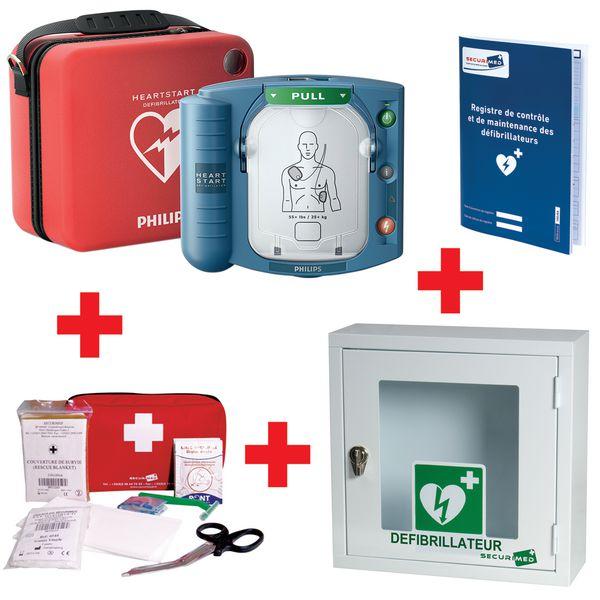Offre pack défibrillateur HS1 avec housse slim + armoire + kit de réanimation + registre