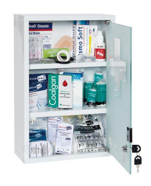 Armoire à pharmacie métal 1 porte vitrée - garnie