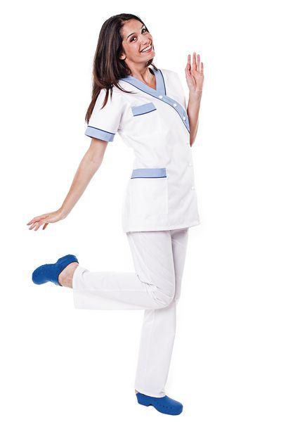 Tunique médicale femme blanche parement bleu ciel Timme