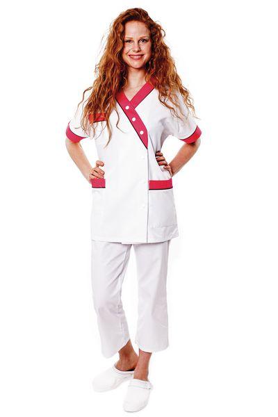 Tunique médicale femme blanche parement rose Timme