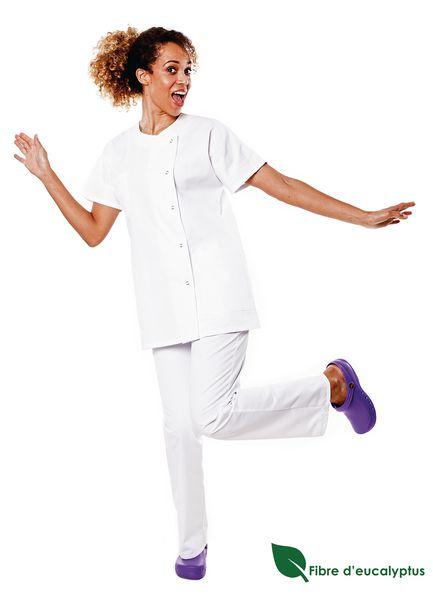 Tunique médicale femme blanche en lyocell Traxa