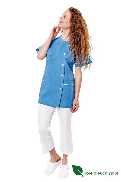 Tunique médicale femme bleu turquoise en lyocell Traxa
