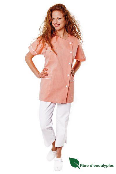 Tunique médicale femme bois de rose en lyocell Traxa