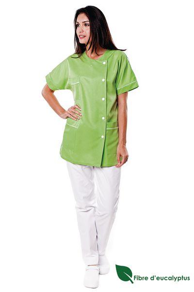Tunique médicale femme vert pomme en lyocell Traxa