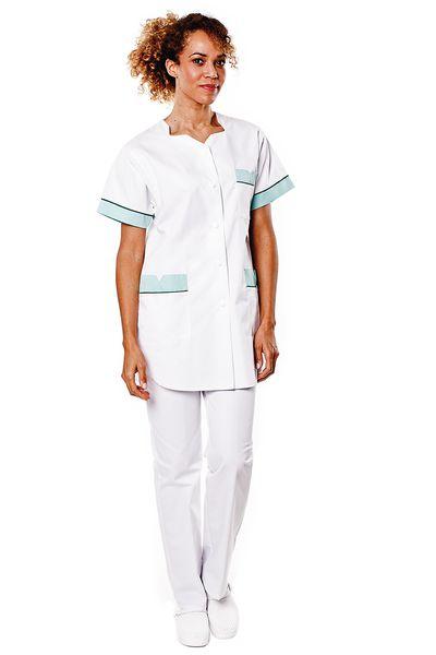 Tunique médicale femme blanche parement vert menthe Tivry